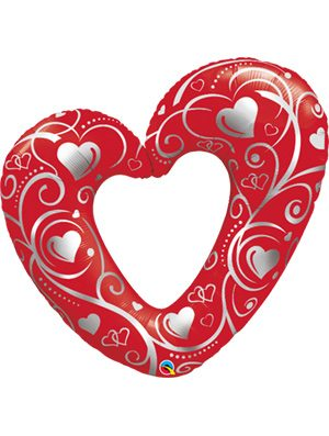 Globo foil corazon Heart & Filigree Red 42""