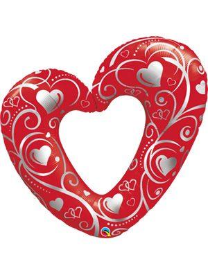 "Globo foil corazon Heart & Filigree Red 42"""