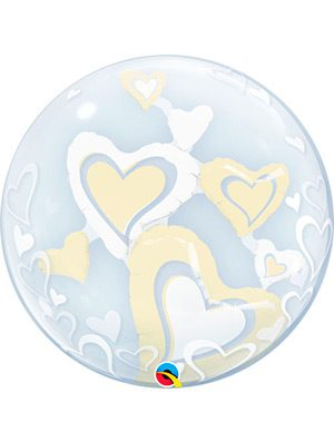 Globo Double Bubble White & Ivory Hearts