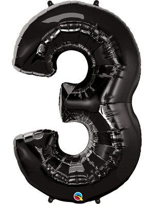 Globo forma numero tres Negro