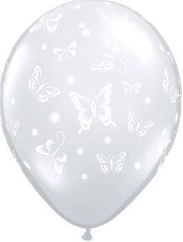 Globo látex Butterflies-A-Round transparente