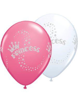 Globo látex Glitter Princess surtido blanco y rosa