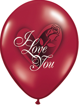 Globo látex con rosa I Love You Red Rose pack