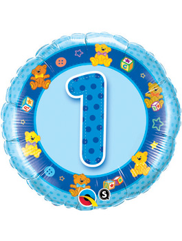 Globo foil Age 1 Blue Teddies