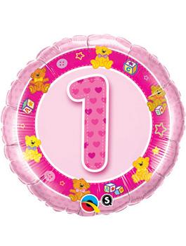 Globo foil Age 1 Pink Teddies