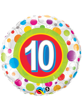 Globo foil Age 10 Colourful Dots