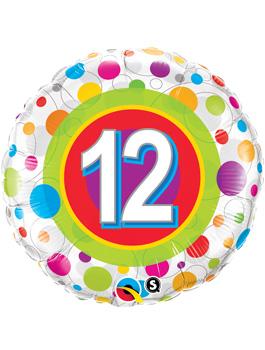 Globo foil Age 12 Colourful Dots