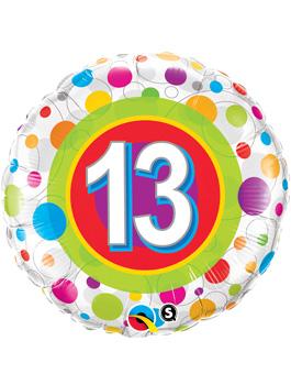Globo foil Age 13 Colourful Dots