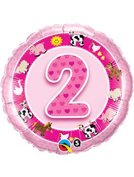 Globo foil Age 2 Pink Farm Animals