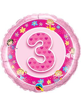 Globo foil Age 3 Pink Fairies