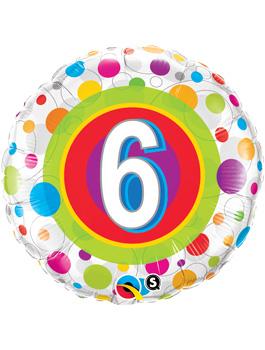 Globo foil Age 6 Colourful Dots