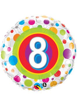 Globo foil Age 8 Colourful Dots