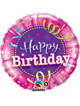 "Globo foil Birthday Hot Pink 18"""