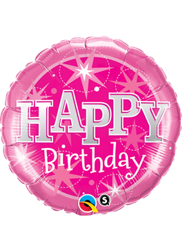 "Globo foil Birthday Pink Sparkle 18"""