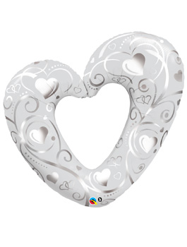 "Globo foil corazón Hearts & Filigree Pearl White 42"""