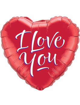 Globo foil I Love You Script Modern 18""