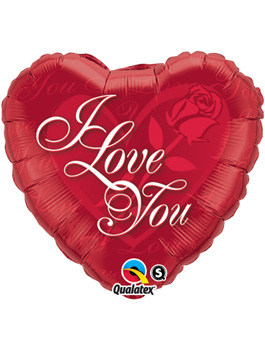 Globo foil I Love You Red Rose 18""