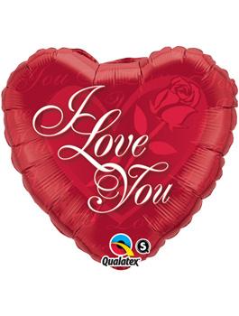 Globo foil I Love You Red Rose
