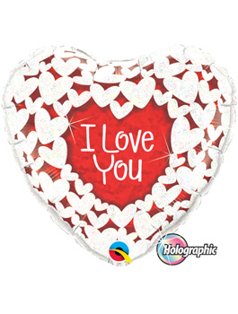 Globo foil I Love You Glitter Hearts 36""