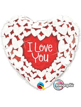 "Globo foil I Love You Glitter Hearts 36"""