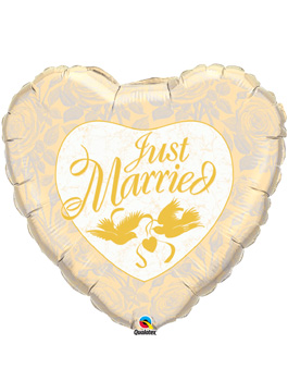 Globo foil Just Married Ivory & Gold 36""