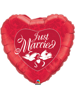 Globo foil Just Married Red & White 36""