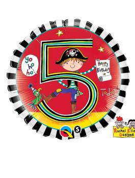 Globo foil Age 5 Pirate Stripes