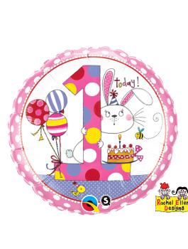 Globo foil Age 1 Bunny Polk Dots