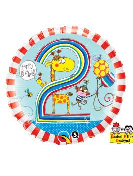 Globo foil Age 2 Giraffe Stripes