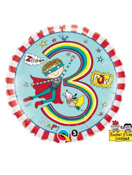 Globo foil Age 3 Super Hero Stripes