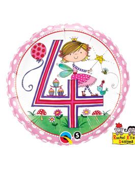 Globo foil Age 4 Fairy Polka Dots