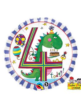 Globo foil Age 4 Dinosaur Stripes