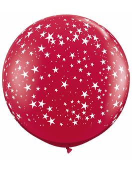 Globo látex gigante Stars-A-Round Ruby Red transparente