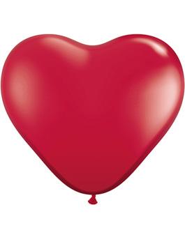 Globo látex corazón Ruby Red transparente