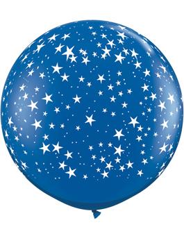 Globo látex gigante Stars-A-Round Sapphire Blue transparente