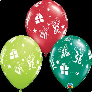 Globo látex surtido Estrellas y Regalos Navidad