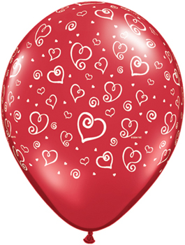 Globo látex Swirl Hearts Ruby Red transparente