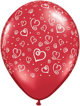 Globo látex Swirl Hearts Ruby Red transparente