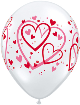 Globo latex Red & Pink Pattern Hearts transparente