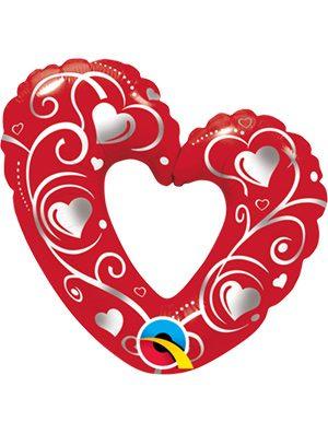 """Globo foil corazón Heart & Filigree Red 14"""""""