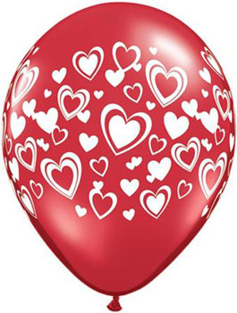 Globo Latex Double Hearts Ruby Red