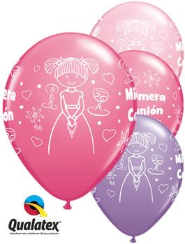 Globo látex Comunión niña Rose, Pink y Lila