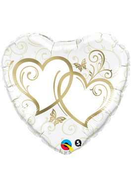 Globo foil Entwined Hearts Gold 18""