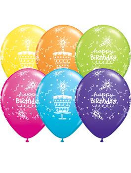 Globo látex Birthday Cake & Candle surtido