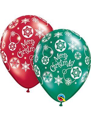 Globo látex Surtido Merry Christmas transparente