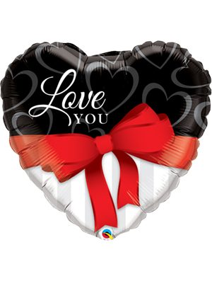 Globo foil Love you Red Ribbon 36""