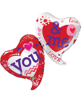Globo foil You and Me Two Hearts