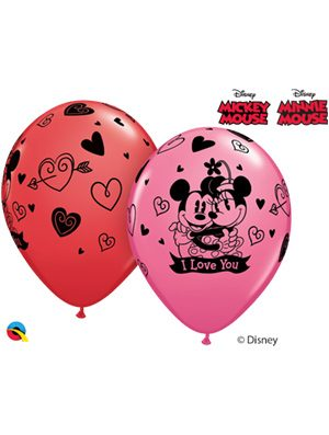 Globo látex Mickey & Minnie I Love You surtido