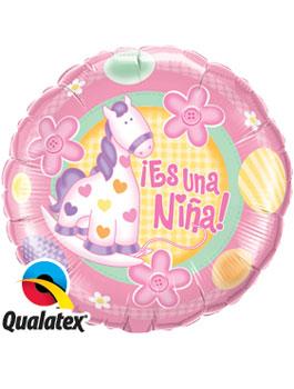 """Globo foil Es una Niña Pony 9"""""""
