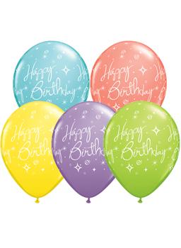 Globo látex Birthday Elegant Sparkles & Swirls surtido sorbet